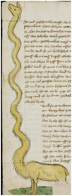 St. Gallen, Stiftsarchiv (Abtei Pfäfers), Cod. Fab. XVI, p. 95v – Jean de Mandeville, Antichrist (Travels of Sir John Mandeville) - with illustrations  http://www.e-codices.unifr.ch/en/ssg/0016/95v
