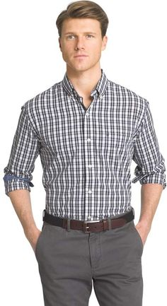 SELX Men Long Sleeve Casual Big /& Tall One Pocket Loose Fit Button Front Shirt