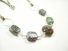 Lampwork Cubes and Lentil Necklace with Coordinating Earrings | JulisJewels - Jewelry on ArtFire