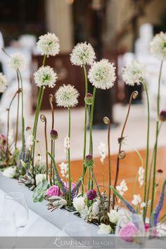 """Floral """"screen"""" wedding reception centerpiece by Dandelion Ranch in Los Angeles"""
