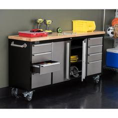 Trinity 72 in. Black Rolling Workbench with Stainless Steel Face, Black Powder Coated