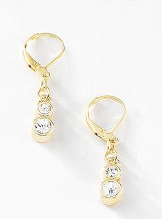 b434aecca3bb Par de aretes con piedras de cristal elaborados en 4 baños de oro de 18 kt.  Modelo 415211. JOYAS NICE