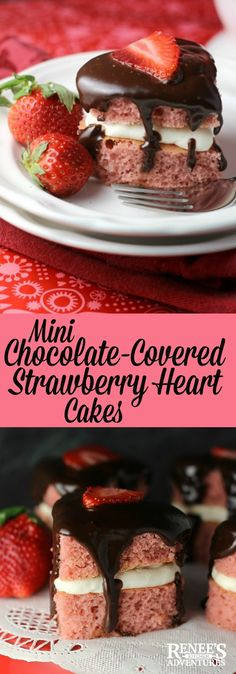 Mini Chocolate Covered Strawberry Heart Cakes | Renee's Kitchen Adventures - strawberry heart-shaped cakes with cream filling and chocolate ganache perfect dessert recipe for Valentine's Day or a special occasion!