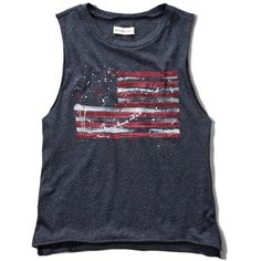 Abercrombie & Fitch Americana Graphic Muscle Tank ($17) ❤ liked on Polyvore featuring tops, shirts, tank tops, navy, graphic tank tops, cotton shirts, america shirt, america tank top and vintage shirts