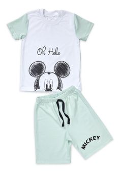 Mickey Mouse, Summer Set, Shorts, Kids Fashion, Onesies, Rompers, Clothes, Collection, Guys