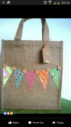 Items similar to Medium Jute Bag with Mixed Pink Bunting Lunch Bag Gift Bag Book Bag on Etsy Hessian Crafts, Hessian Bags, Jute Bags, Fabric Crafts, Hessian Bunting, Pink Bunting, Decorated Gift Bags, Diy Tote Bag, Bag Patterns To Sew