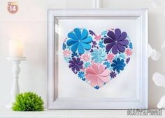 How to Make Easy Paper Heart Flower Wall Art Paper Wall Art, Paper Artwork, Giant Paper Flowers, Diy Flowers, Flower Paper, Diy 3d, Heart Crafts, Heart Decorations, Paper Hearts