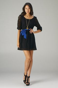 Belted 3/4 Sleeve Lace Dress (Black+Purple) - Front