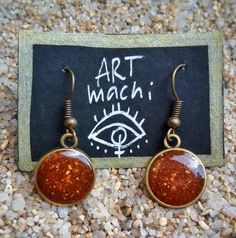 handmade resin earrings, made with real curry from india and indian wind blow, earrings, handmade, resin, natural, spice, curry powder by ARTmachi on Etsy