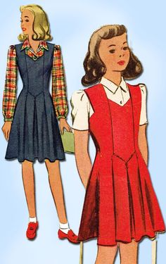 1940s Vintage McCall Sewing Pattern 4414 WWII Girls Jumper Dress Blouse Size 10