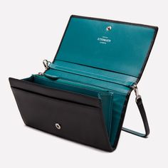 Ettinger London - Luxury Leather Goods - Sterling Large Flap Over Purse in Turquoise