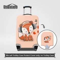 Dispalang Cartoon Fox Printing Thicker Stretch Elastic Travel Luggage Protect Cover For Women S/M/L Waterproof Rain Dust Covers