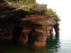 Devil's Island Sea Caves just off the coast of Bayfield, WI only 35 minutes from Northland!