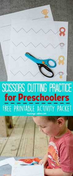 Here's the perfect Scissor Cutting Practice for Preschoolers.  Grab your Free Printable Activity Packet here