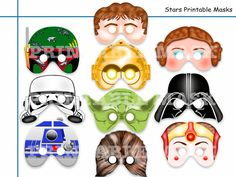 Unique Star Wars Printable Masks,party masks,birthday,decoration,Darth Vader,Jedi,Boba Fett,Yoda,Princess Amidala,Chewbacca,R2D2,Han Solo by HolidayPartyStar, $8.75 USD