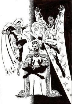 Jim Starlin and Al Milgrom Warlock, Capt. Marvel, Dr. Strange Illustration Illustration Original Art (2004) by giantsizegeek, via Flickr