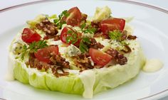 Wedge Salad -So much easier to eat if cut like this versus a huge wedge. or trade out for romaine leaves