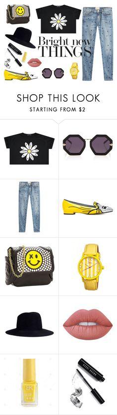 """Bright new things"" by lameessalem ❤ liked on Polyvore featuring Karen Walker, Current/Elliott, Chiara Ferragni, Thomas Blakk, Boum, Janessa Leone, Lime Crime and Bobbi Brown Cosmetics"