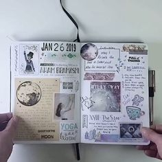 Here is a look at me January 2019 magic morning Bullet Journal. I love texture s. - Here is a look at me January 2019 magic morning Bullet Journal. I love texture so I use tons of was - Bullet Journal Inspo, Bullet Journal 2019, Bullet Journal Aesthetic, Bullet Journal Ideas Pages, Bullet Journal Flip Through, Travel Journal Pages, Travel Journals, Scrapbook Journal, Journal Layout