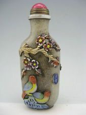 Old China Peking glass Hand Carved Plum flower Bird Calligraphy Snuff Bottles