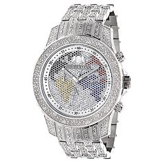 World Map Iced Out Luxurman Mens Diamond Watch 1.25ct Raptor