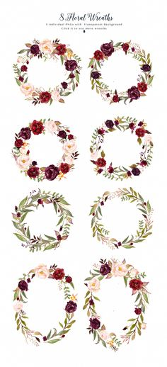 Watercolor flower Clip Art-Marsala by Graphic Box on @creativemarket This is a mini pack - Marsala from Tribe flower collection. The main color way of this pack is burgundy, it is very perfect for your wedding stationery in rustic, boho chic, vintage style. Just enjoy and have fun!