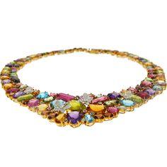 Collier Or jaune, Pierres fines et Diamants