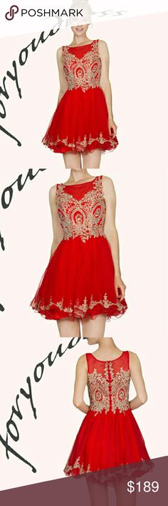 PROM DRESS party holyday A fun Short dress with red with gold flora print top full skirt with peek-a-boo ruffle Dresses Prom