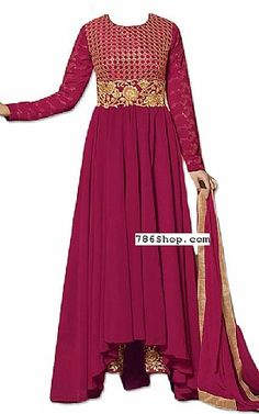 Magenta Georgette Suit | Buy Pakistani Fashion Dresses and Clothing Online in USA, UK