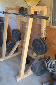 Weight Rack and Bench - Garage Gym - Home Gym Home Made Gym, Diy Home Gym, Gym Room At Home, Homemade Gym Equipment, Diy Gym Equipment, No Equipment Workout, Fitness Equipment, Squat Rack Diy, Sport Studio