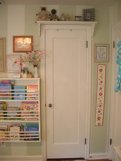 "Note: Love the idea of the shelf over the door for the boys room for those ""not everyday"" toys or box storage. Also like the book rack"