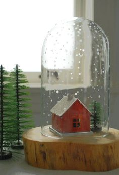 DIY Waterless Etched Glass Snow Globe