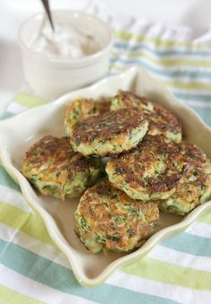 Zucchini Fritters & Lemon Herb Dipping Sauce