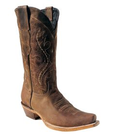 Look at this Pecos Bill Brown Distressed Leather Cowboy Boot - Women on #zulily today!