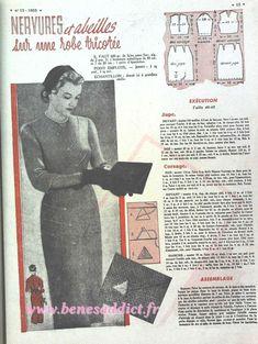 """Vintage Addict"" GRATUIT 100 patrons Tricot, crochet, couture 50's Béné's Addict Big Shoulders, Mode Vintage, Vintage Stuff, Pattern Drafting, Couture, Corsage, Free Crochet, 1940s, Knitting Patterns"