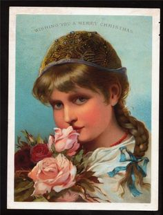 Young Victorian Girl with Roses Card