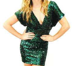 Plus Size Forest Green Sequin Dress