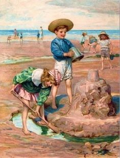 Vintage Seaside Illustration.... Children playing in the sand,