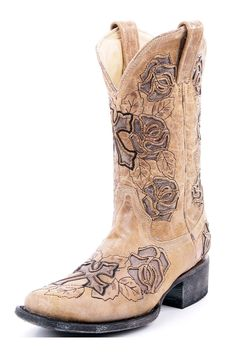 Corral Tan Rose With Cross Cowgirl Boots