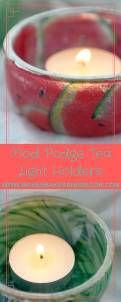 a craft tutorial for mod podge tea light holders. craft ideas. things to make. diy homewares. things to make and sell. tea lights. mod podge crafts. napkins. watermelon. banana leaf print. palm leaf print.