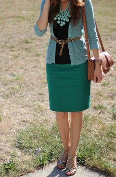 Lilly's Style: shades of green...and some leopard; love the shades of the same color!