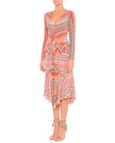 Long-Sleeve Ribbon Printed Silk Dress by Etro at Neiman Marcus.
