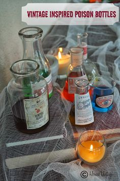 Vintage Inspired Poison Bottles #halloween