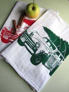 Screen printed Vintage Station Wagon and Christmas Tree organic cotton flour sack tea towel, $8