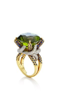 One Of A Kind Peridot, Sapphire, And Diamond Horst Ring by Nicholas Varney for Preorder on Moda Operandi
