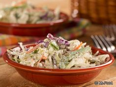 Whether you like your slaw creamy or crunchy, this one delivers both! Direct from the Mr. Food Test Kitchen, we've come up with a Creamy Crunchy Slaw for you to make that will have everyone green with envy! Healthy Coleslaw Recipes, Healthy Summer Recipes, Healthy Salads, Salad Recipes, Healthy Eating, Low Carb Recipes, Diabetic Recipes, Diet Recipes, Cooking Recipes