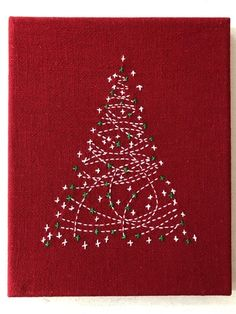 Christmas Tree Kit, Christmas Poster, Christmas Wreaths, Embroidery Stitches, Embroidery Designs, Shashiko Embroidery, Japanese Graphic Design, Patchwork Fabric, Japanese Textiles