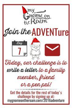 Can you believe we're already one week into our challenge? What an exciting week it has been!  Today's activity is to write a letter to a family member, friend or find a pen pal.  You can find more ideas and inspiration for today's challenge by clicking here to sign up.