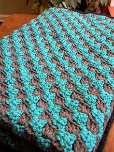 Ravelry: cera82v's Teal and Grey Diagonal Granny Stripe Crochet Baby Blanket