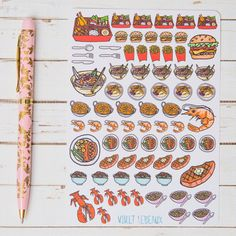 Take Away Food GLOSS Sticker Sheet   For Kikki K, Erin Condren, FiloFax or other Journals and Planners